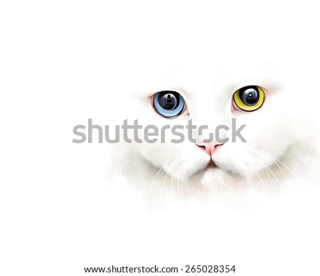Animal collection: portrait of a white cat with different colored eyes, on a white background, watercolor illustration - stock photo