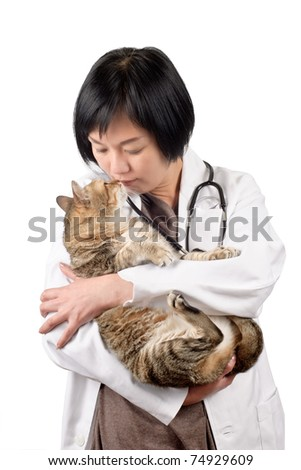 Animal doctor kiss cat, half length closeup portrait on white background.