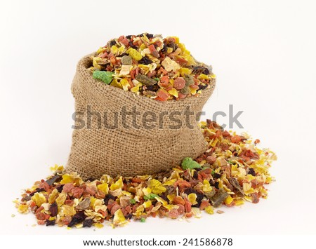 animal food, dried vegetables for pets - stock photo