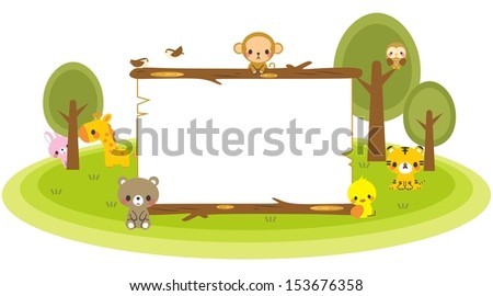 Animal forest board - stock photo