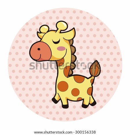 animal giraffe cartoon theme elements - stock photo