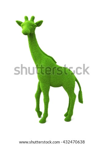 Animal giraffe shaped grass hedge on a white background. Part of an animal theme series.3d render - stock photo
