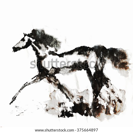 animal horse drawn ink ink on a white sheet of rice paper in the style of Chinese traditional painting