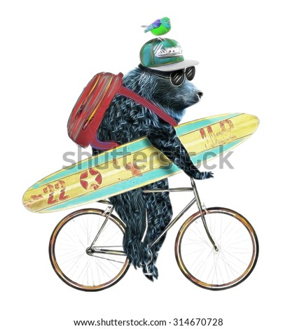 animal illustration/bear cycle/Circus show illustration/Performance of the bear on bike/Hand drawn Illustration/Bear and bird/T-shirt graphics/cartoon characters/bear book illustrations/bear surfing - stock photo