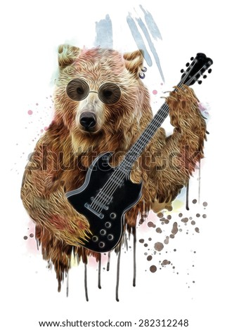 animal illustration,Circus show illustration,Hand drawn Illustration,Bear illustration,T-shirt graphics,cute cartoon characters,bear graphic,bear poster,bear banner,bear canvas print,rock and roll - stock photo