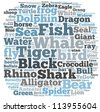 animal info-text graphics and arrangement concept on white background (word cloud) - stock vector