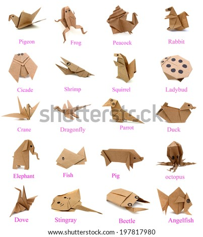 Animal of origami paper collection - stock photo
