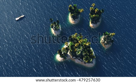 Animal paw island and beach paradise on the sea for summer holidays. 3D Illustration