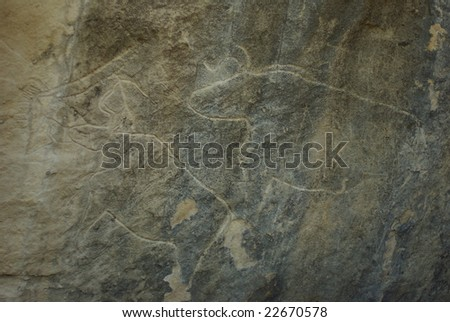 Animal petrographs in Gobustan,Azerbaijan - stock photo