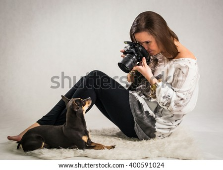 Animal photo session in studio - stock photo