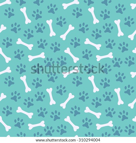 Animal seamless  pattern of paw footprint and bone. Endless texture can be used for printing onto fabric, web page background and paper or invitation. Dog style. White and blue colors. - stock photo