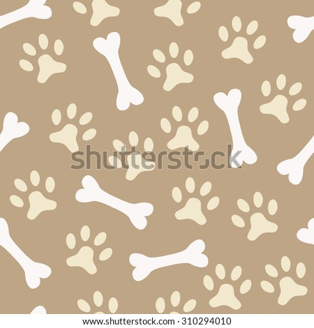 Animal seamless  pattern of paw footprint and bone. Endless texture can be used for printing onto fabric, web page background and paper or invitation. Dog style. White and beige colors. - stock photo