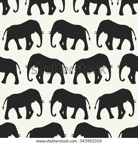 Animal seamless retro pattern of elephant silhouettes. Endless texture can be used for printing onto fabric, web page background and paper or invitation. White, black colors. - stock photo