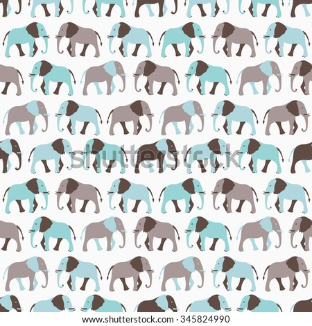Animal seamless retro pattern of elephant silhouettes. Endless texture can be used for printing onto fabric, web page background and paper or invitation. White, blue and gray colors. - stock photo
