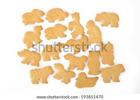 animal shaped cracker isolated on white background - stock photo
