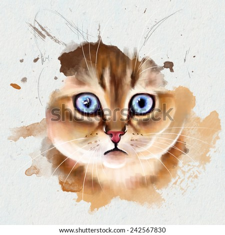 Animal watercolor collection: portrait of a blue-eyed kitten - stock photo