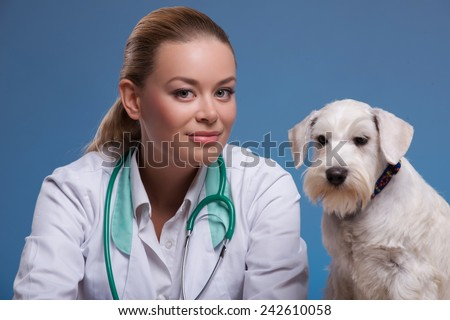 Animals are her first love. A young beautiful vet kissing an affectionate canine isolated against blue background - stock photo