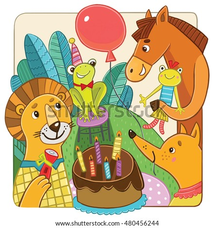 animals at a birthday party. children's illustration