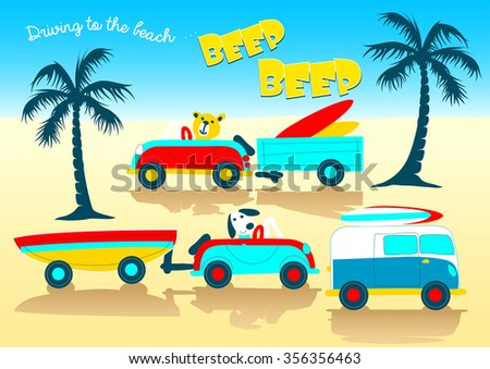 Animals driving to the beach beep beep .