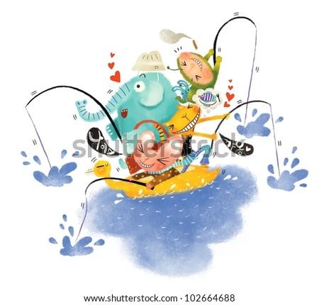 Animals in boat - stock photo