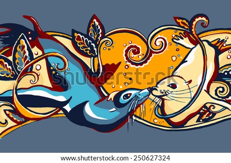 Animals in love. Post card for St. Valentine's Day? - stock photo