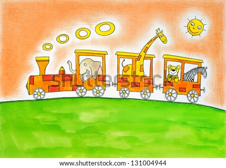 Animals on trip, child's drawing, watercolor painting on paper - stock photo