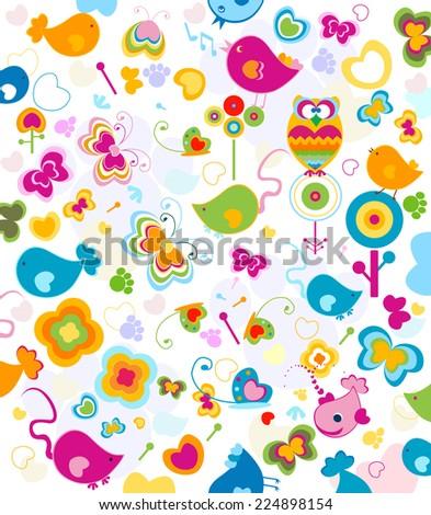animals seamless pattern, design for kids - stock photo