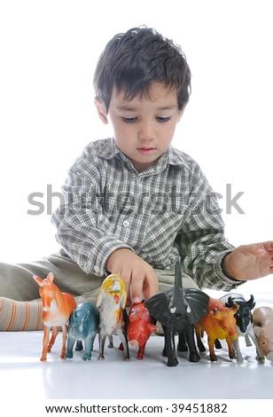 Animals toys isolated - stock photo