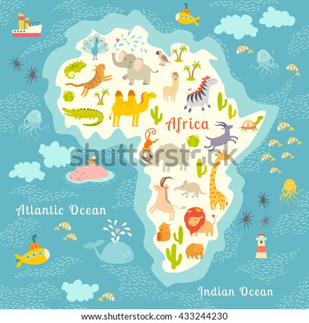 Animals World Map Africa Beautiful Colorful Illustration For Children Kids Inscription
