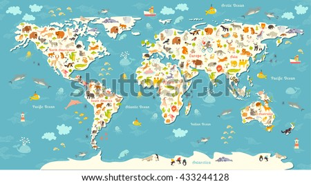 Animals world map. Beautiful cheerful colorful illustration for children and kids. Inscription of the oceans and continents. Eurasia, Africa, Australia, North America and South America continents - stock photo