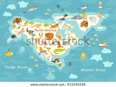 Animals world map, North America. Colorful cartoon illustration for children and kids. North America mammals,sea life. Animals poster. Preschool, education, baby, continents, oceans, drawn, Earth - stock photo