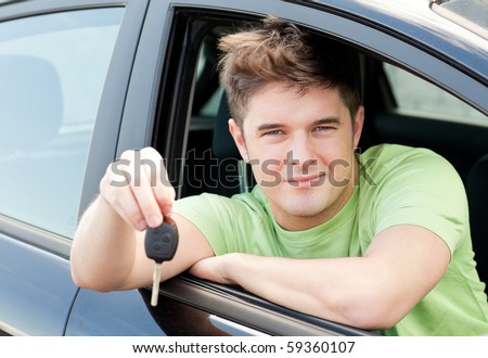 Animated caucasian man holding a car key sitting in his car