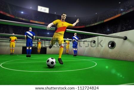 animated table football - stock photo