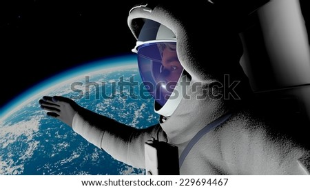 Animation of the astronaut against the Earth