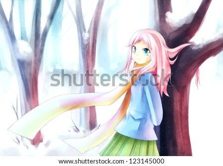 Anime girl standing in a snowy forest during winter - stock photo