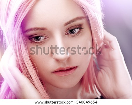 Anime style female portrait, young adult girl with pink hair