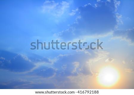 anime sunset and sunrise pastel sky background - stock photo