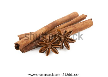 anise and cinnamon ingredients close up isolated on white background - stock photo