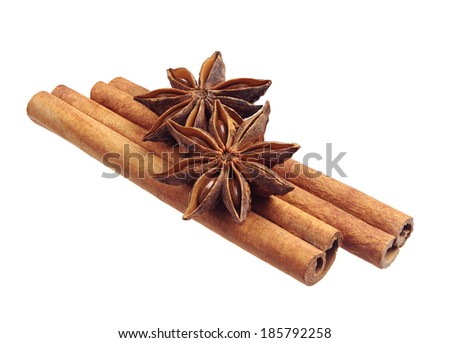 Anise and cinnamon isolated on white background - stock photo