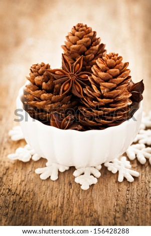 anise and fir cones in a bowl - stock photo