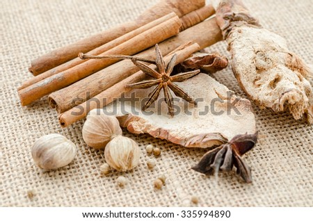 Anise, cardamom, nutmeg and cinnamon sticks on a white background. Spices. - stock photo