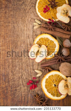 Anise, cinnamon and cardamom, dried fruit  - stock photo