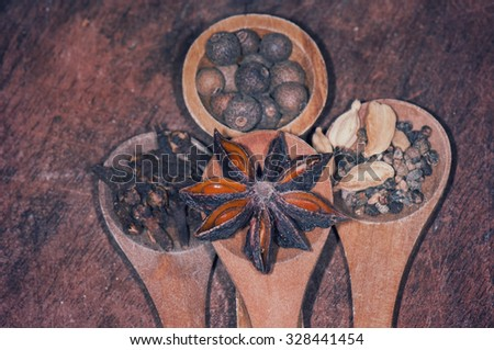 Anise seed, nutmeg, clove and cardamom on grunge wooden plank - stock photo
