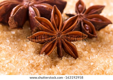 Anise seeds on brown sugar