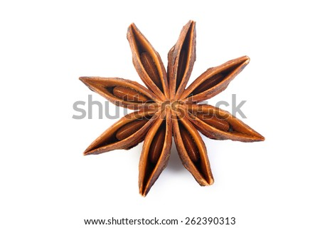 Anise star on white background