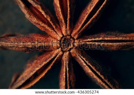 Anise star seeds on the wooden background. Aromatic ingredient in culinary, raw for alcohol drink arak, ouzo, raki, sambuca. Macro, close-up. Selective Focus. Toned image. - stock photo