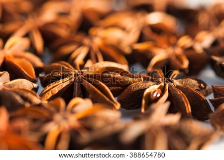 anise stars as a background closeup - stock photo
