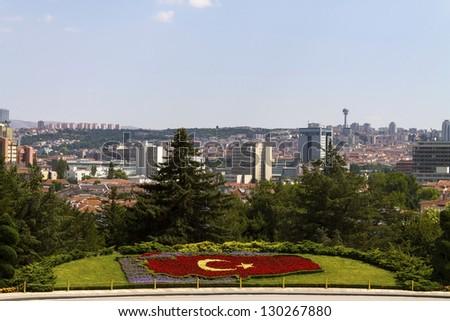 Ankara, Capital city of Turkey, a view from Mausoleum of Ataturk. - stock photo