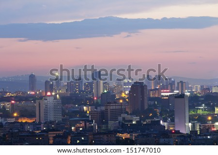 Ankara, Capital city of Turkey, night view - stock photo