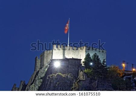 Ankara castle  at night, Ankara, Turkey. - stock photo